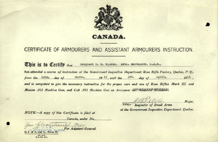 "Sample of ""Certificate of Armourers and Assistant Armourers Instruction"" for Sergeant C.H. Clarke. This is the first instance of this certificate found by this researcher."
