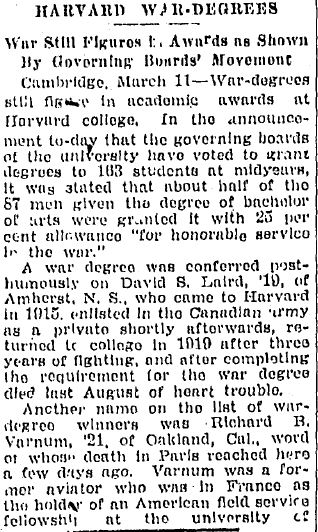 Harvard War Degrees