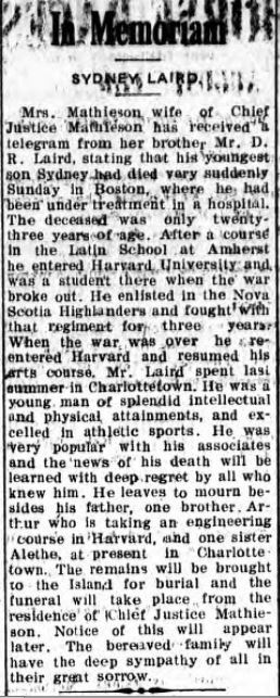 Source: The Charlottetown Guardian; August 10, 1920; Page 3. via https://westendvancouver.wordpress.com/biographies-a-m/biographies-l/laird-david-rennie-1865-1948/