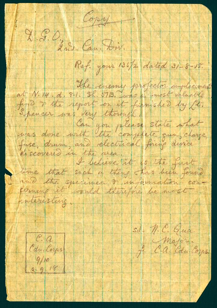 Letter German Gas Projector by Major Norman Charlton