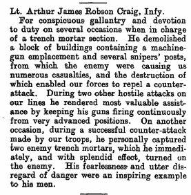 Military Cross Citation; The London Gazette Publication date: 5 March 1918 Supplement: 30561 Page: 2946