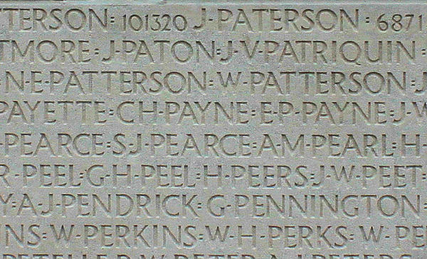 Inscription – His name as it is inscribed on the Vimy Memorial (2010). Over 11,000 fallen Canadians having no known place of burial in France, are honoured on this Memorial. May they never be forgotten. (J. Stephens). Via CVWM