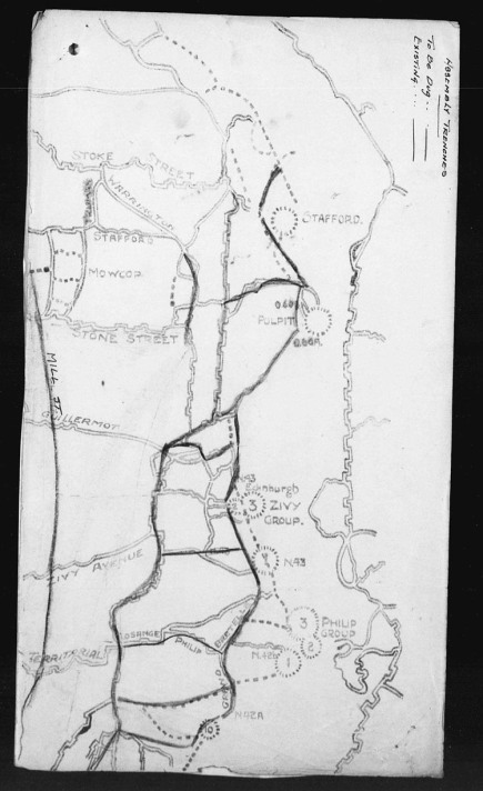 This map is from the 19th Battalion Appendix for March 1917. It show in good detail the orientation of the Zivy and Phillip Craters and indicates that that they were used as observation or listening posts.