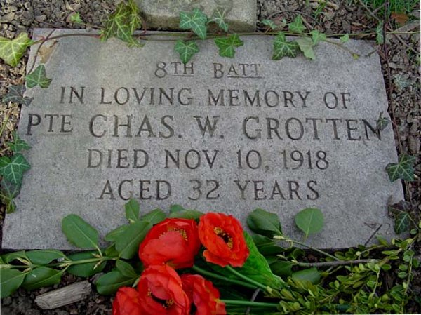 Grave marker at Prospect Cemetery, Toronto, Ontario. It incorrectly indicates he was a member of the 8th Battalion. He was a member of the 18th. Source CVWM