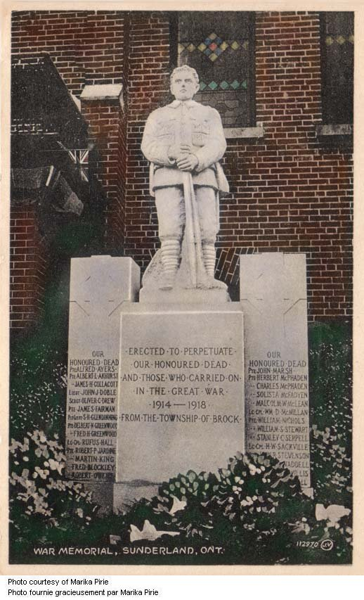 Sunderland Ontario War Memorial – Martin King's name is included on the Sunderland Ontario War Memorial. Via CVWM