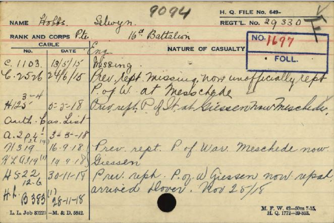 Card in service record showing dates of becoming prisoner of war and repatriation to England.
