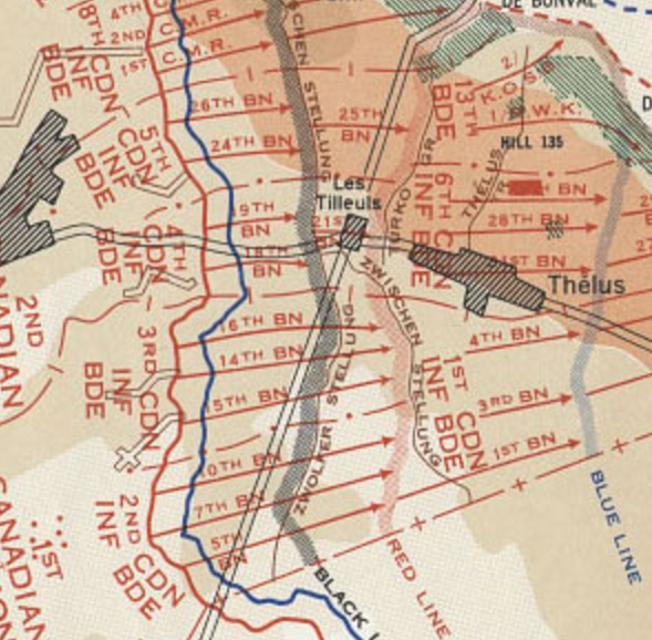 Overview of Vimy Front. 18th Battalion in 4th Brigade area.
