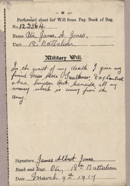 Military Will of James Albert Jones 123364. Note the date. He was killed in action on March 24, 1917.