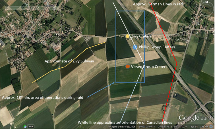 Overview of Zivy Tunnel and Crater reference 45 April 1917 with position approximations