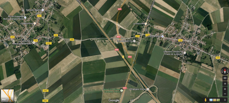 Overview of Thelus Sector via Google Maps showing modern day roads and place names.