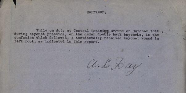 Statement re bayonet wound