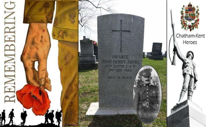 Grave stone of Pte. J.H. Payne. Source: D. Hueston via 18th Battalion Facebook Group