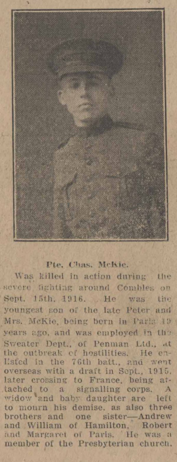 Newspaper Clipping – Brantford Courier December 16, 1916. Source: CVWM