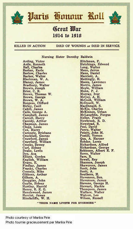 Roll of Honour – This Roll of Honour appeared in the pamphlet distributed at the Paris Ontario War Memorial's unveiling and dedication ceremony on November 11th, 1930. Source: CVWM