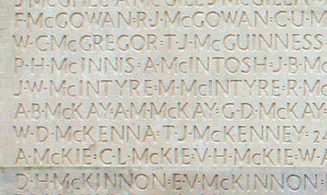Inscription – His name as it is inscribed on the Vimy Memorial (2010). Over 11,000 fallen Canadians having no known place of burial in France, are honoured on this Memorial. May they never be forgotten. (J. Stephens) Source: CVWM