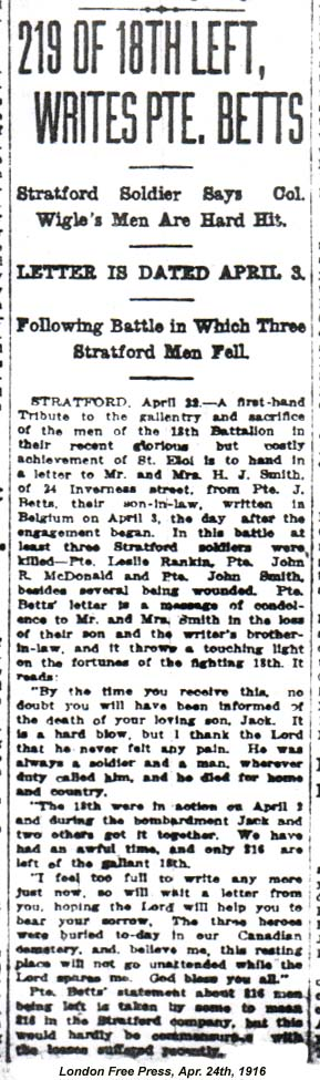 Press Clipping – The London Free Press published this letter about Stratford men with the 18th Battalion who fell at St. Eloi. Pte. John Roderick McDonald is mentioned in the article. Via: CVWM