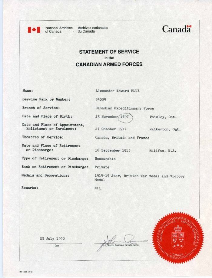 A2009.210.003 - Certificate - Statement of Service - Alexander Edward Blue, Jul 23, 1990