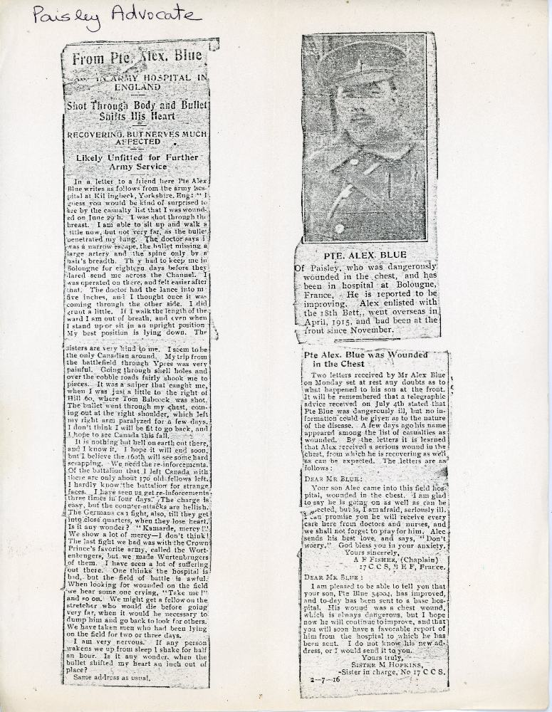 A2009.210.005 - Newspaper Clipping - Alexander Blue's injuries including a letter written by Blue plus the story - Copy (2)