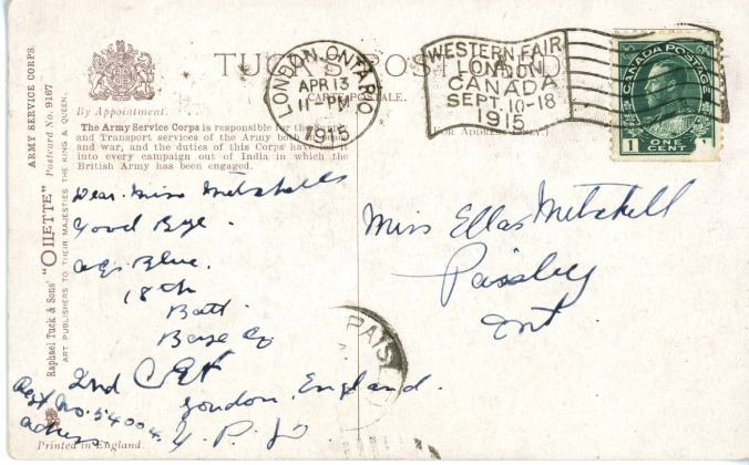 Back of first post card.  Army Service Corp Trumpeter. Source: via Bruce Remembers web site.