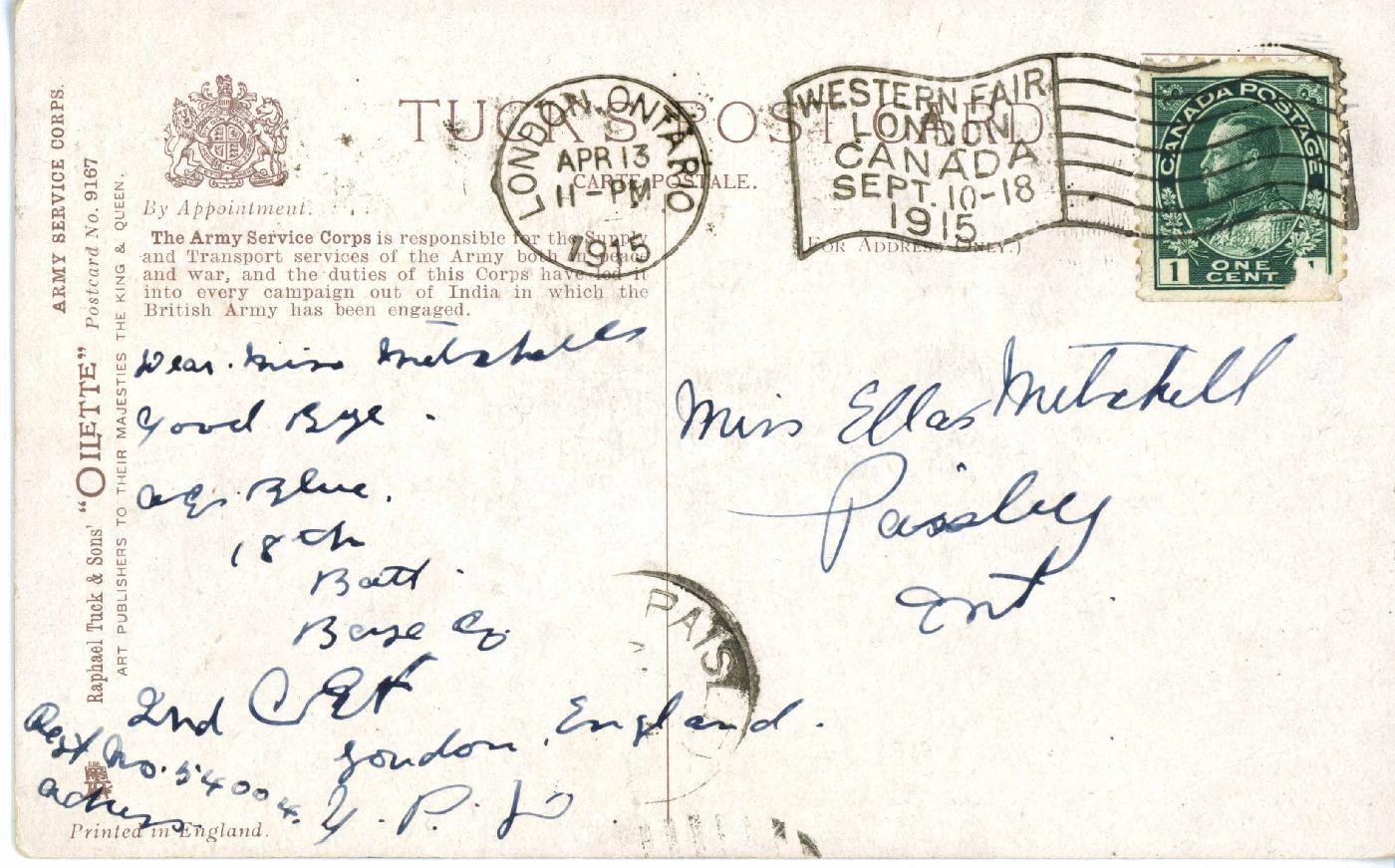 A2009.210.006b - back - From Alex Blue to his teacher Miss. Ella Mitchell Apr 13, 1915