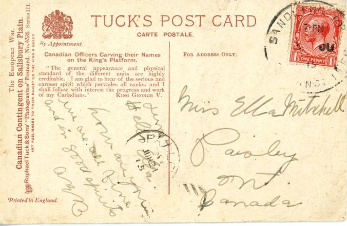 Back of 2nd card sent to Miss Mitchell. Source via Bruce Remembers