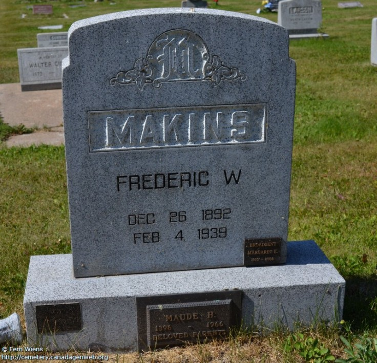 Headstone at Fraser Lake Cemetery. Frederic Waite MAKINS 1892-1939 Fraser Lake Cemetery Fraser Lake, Bulkley-Nechako Regional District, BC Photos courtesy of Fern Wiens [2014]