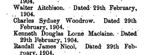 Screen capture of the London Gazette dated April 8, 1904 showing the appointment of this soldier to the rank of 2nd Lieutenant. At this time Lt. Woodrow was attached to the Scottish Horse.