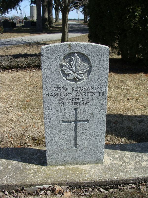 posted by Henry VanHaren Carpenter, Hamilton Sgt. Service # 53550 C. E. F., 18th Bttn 10/24/1891 - 9/24/1921 lot # East 7 Source: Cemeteries of Chatham-Kent