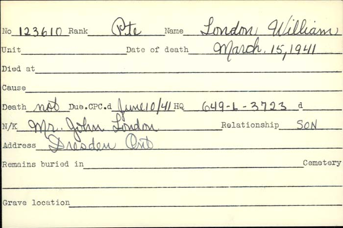 Veteran Death Card