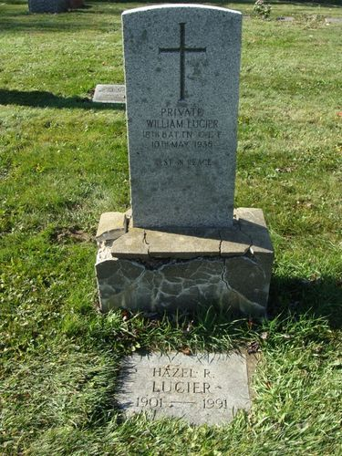 posted by Henry VanHaren Lucier, William Pte 18th Battalion C. E. F. 10th May, 1936 groundstone Lucier, Hazel Ruby died 6/28/1991 plot # 981 W. Source: Chatham-Kent Cemeteries