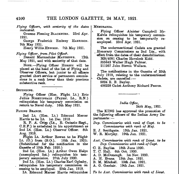 London Gazette issue 32332, page 4100. Possible reference to soldier. Context unknown.