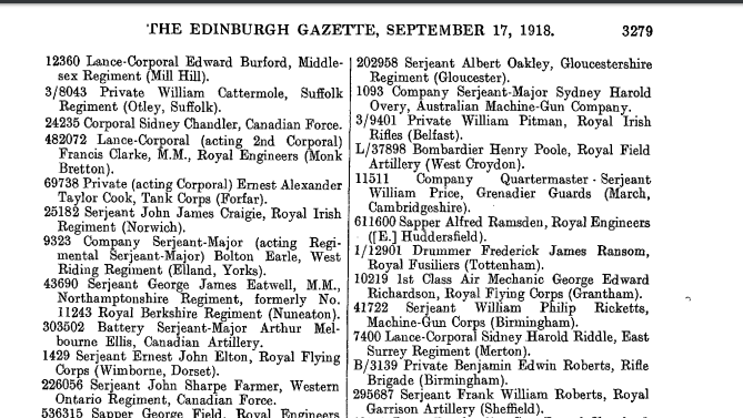 Edinburgh Gazette September 17 1918 page 3279 Italian Bronze Medal of Valor