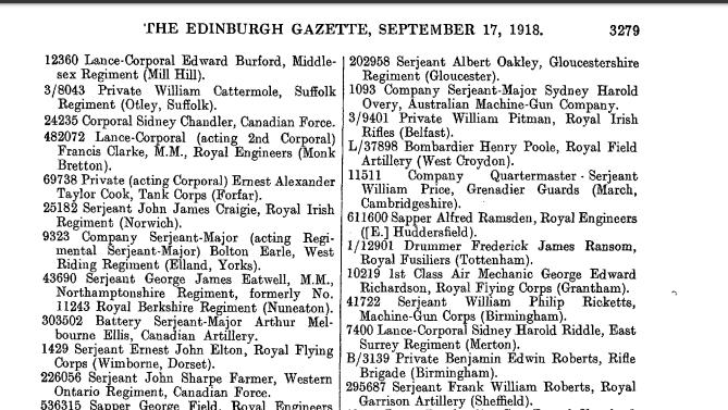 Edinburgh Gazette September 17 1918 page 3279 Italian Bronze Medal of Valor