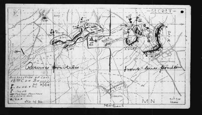 Map of 18th Battalion Positions just outside and to the north-west of Neuville-Vitasse, Arras Sector, France.