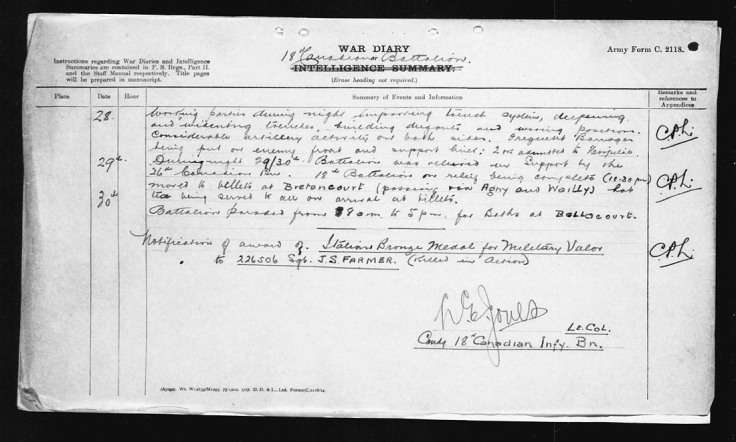 War Diary Entry re Medal