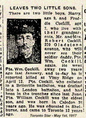 Newspaper Clipping – Pte. William Cokell was a widower when he enlisted in the Canadian army. His surname was misspelled in this article. Source CVWM