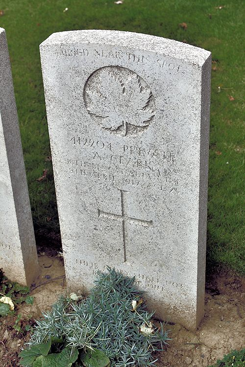 Grave Marker – Grave Marker – The grave marker at the Nine Elms Cemetery located outside Roclincourt, France. It is located about 5 kilometres from Canada's Vimy Memorial. May he rest in peace. (John & Anne Stephens 2013) Source: CVWM