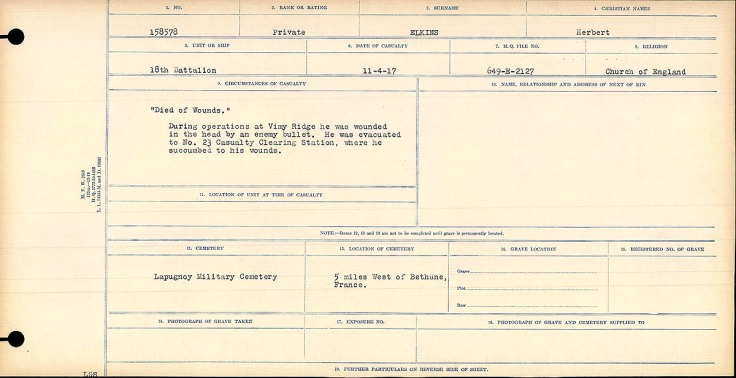 """""""Died of Wounds"""" During operations at Vimy Ridge he was wounded in the head by an enemy bullet. He was evacuated to No. 23 Casualty Clearing Station, were he succumbed to his wounds."""
