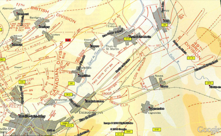 Battle of Cambrai and Canal du Nord 1918 Map Showing Relative Positions