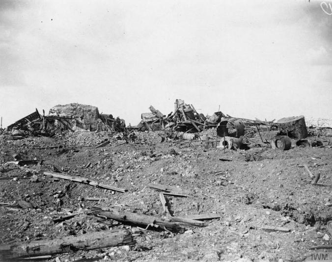 © IWM (CO 859) The Battle of Flers Courcelette 15 - 22 September: The ruins of the Sugar Refinery in Courcelette.