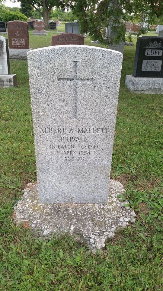 MALLETT, ALBERT ARCHIE Rank Private Service # 880665 Cemetery: Soldier's Field, Maple Leaf Cemetery, Chatham, ON Source: Dawn Hueston