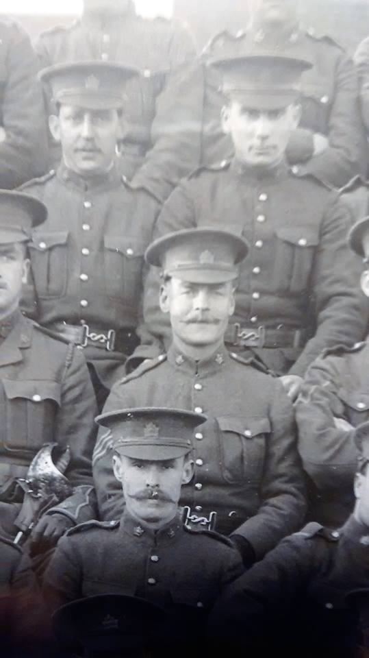 "Notes on this photo: As near as we can figure, given his earleir service with the 22nd Regt., This should be JB Walker isolated from the large framed photo of the 7th Platoon, ""B"" Co., taken in London in late Oct. 1914."