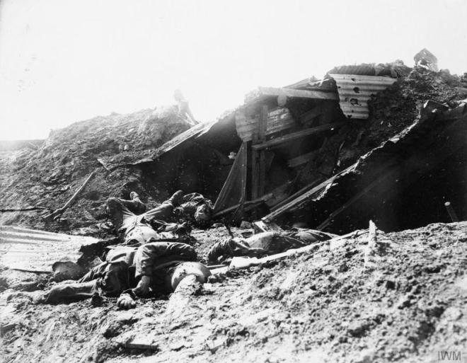 © IWM (CO 775) German dead in a trench captured by Canadian troops during the Battle of Flers-Courcelette.