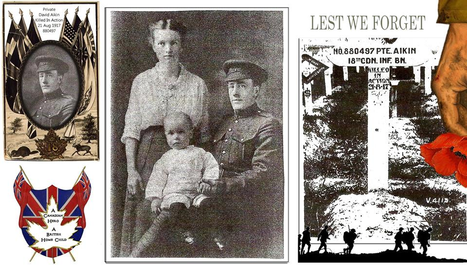 Collage of images regarding Pte. Aikin. Source: From Dawn Heuston Remembering Chatham Kent Heroes Facebook Group