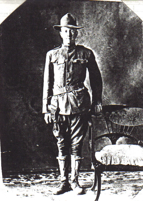 Photo of Forest Jasper Foster – Taken in 1914 Canadian Armed Forces b. 13 Sep. 1896 d. 1 Oct. 1916 Son of Frank and Mary Catherine (Weatherly) Foster Beloved brother of Cecil Leo, Truman DeWayne and Corwin Vancil Foster all from Nebraska. Source: CVWM