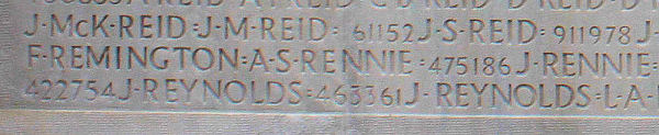 Pte. Remington's name inscribed on Vimy Memorial. Source: CVWM