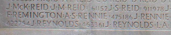 Pte. Remington's name inscribed on Vimy Memorial. Source: CVWM