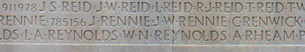 Pte. Rennie name inscribed Vimy Memorial. Source: CVWM