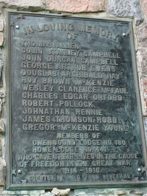 Plaque in Owen Sound commemorating Pte Rennie. Source: CVWM