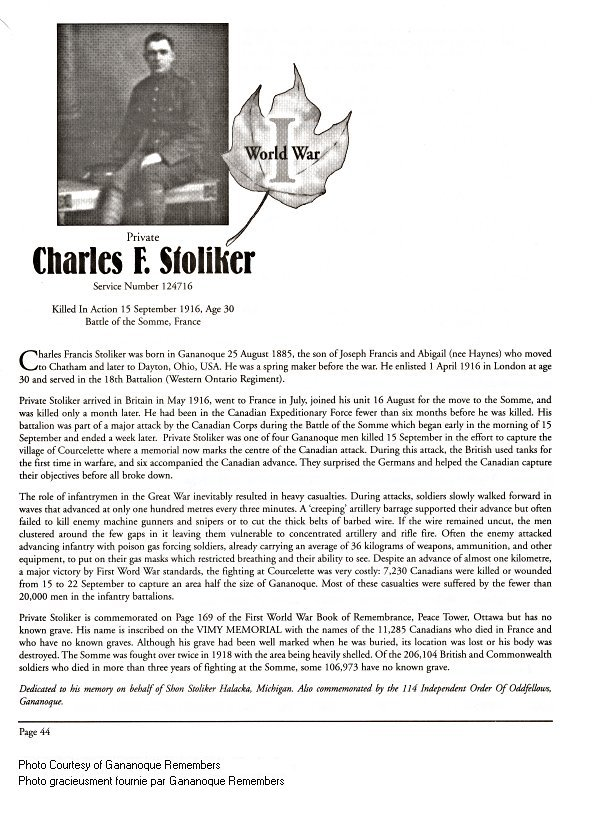 Memorial Page – Charles Stoliker is honoured on page 44 of the Gananoque Remembers booklet, published on January 31, 2005. Source: CVWM